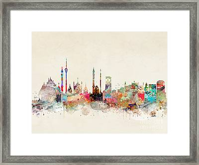 Framed Print featuring the painting Delhi City Skyline by Bri B