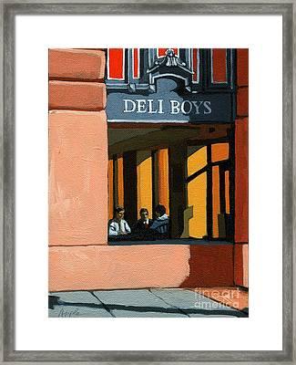 Deli Boys - Cafe Framed Print by Linda Apple
