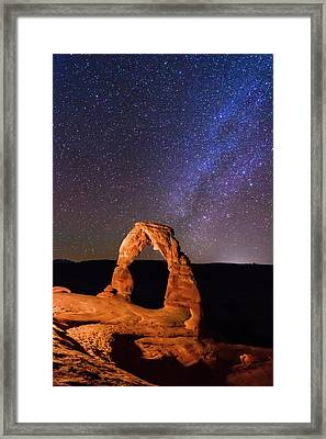 Delicate Arch And Milky Way Framed Print by Matthew Crowley Photography