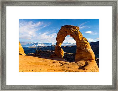 Delicate Arch And The La Sal Mountains Framed Print