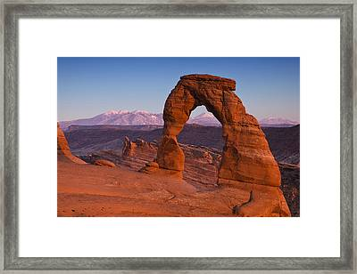Delicate Arch At Dusk Framed Print by Andrew Soundarajan