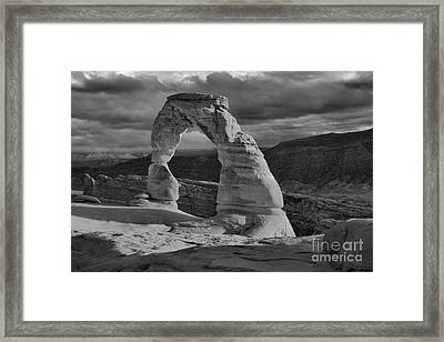 Delicate Arch Black And White Sunset Shadow Framed Print