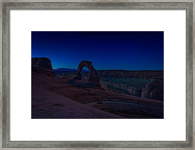 Delicate Arch In The Blue Hour Framed Print by Rick Berk