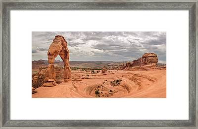 Delicate Arch Panoramic Framed Print by Adam Romanowicz