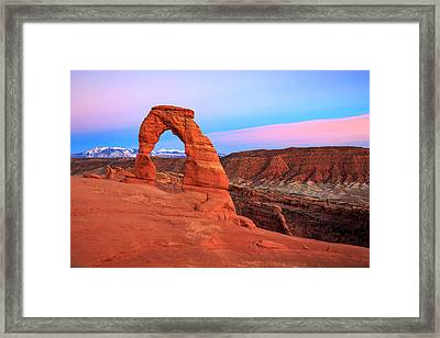 Delicate Arch Sunset Framed Print