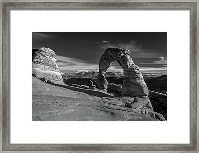 Delicate Arch Utah In Black And White Framed Print