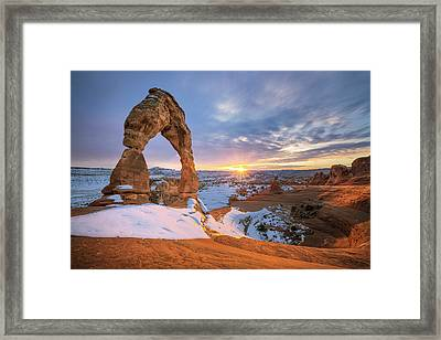 Delicate Arch Winter Framed Print