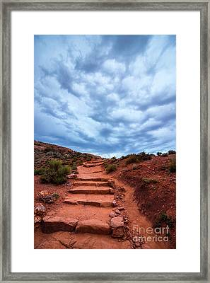 Delicate Stairway In Stormy Weather - Moab - Utah Framed Print by Gary Whitton