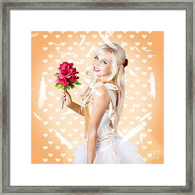 Delicate Young Woman Holding Flower Bunch Framed Print by Jorgo Photography - Wall Art Gallery