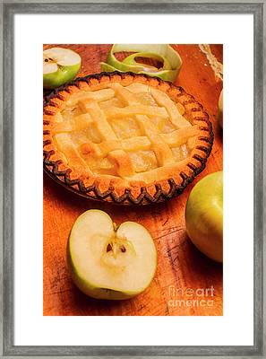 Delicious Apple Pie With Fresh Apples On Table Framed Print