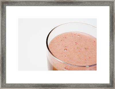 Delicious Strawberry Smoothie Isolated On White Framed Print by Donald Erickson