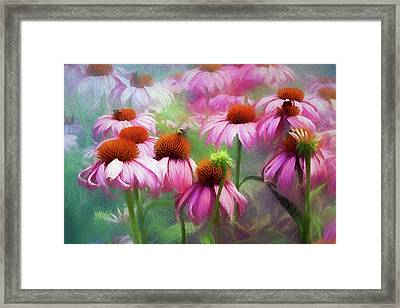 Framed Print featuring the digital art Delightful Coneflowers by Diane Schuster
