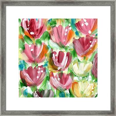 Delightful Tulip Garden Framed Print by Linda Woods