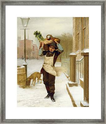 Delivery Boy  Framed Print by John George Brown