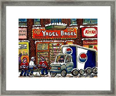 Delivery Day Yagel Bagel Bakery Pepsi Truck Boys Playing Hockey Best Montreal Hockey Winter Art Framed Print by Carole Spandau