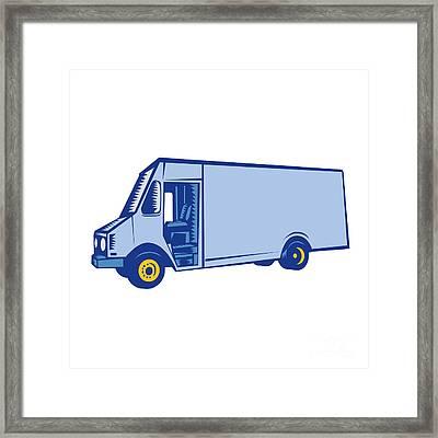 Delivery Van Side Woodcut Framed Print by Aloysius Patrimonio