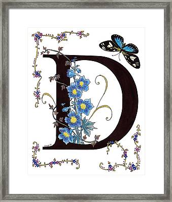 Delphinium And Doris Butterfly Framed Print by Stanza Widen