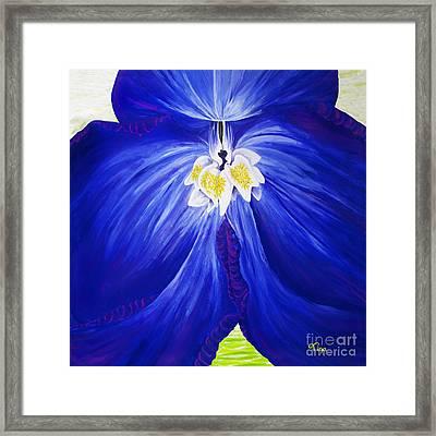 Delphinium, Modernist Cobalt Blue, Violet Floral Art Framed Print