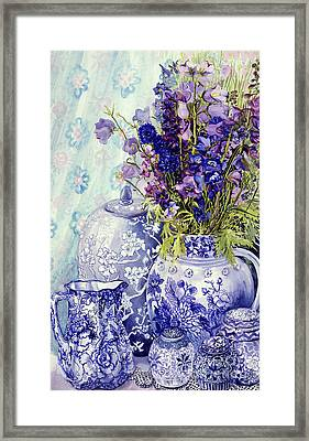 Delphiniums With Antique Blue Pots Framed Print by Joan Thewsey