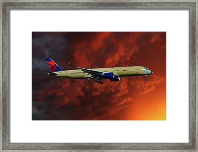 Delta Airlines Airbus A350-900 Framed Print
