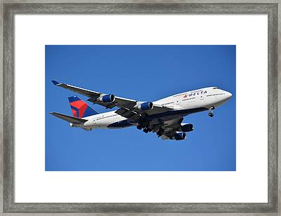 Delta Boeing 747-451 N662us Phoenix Sky Harbor January 12 2015 Framed Print by Brian Lockett