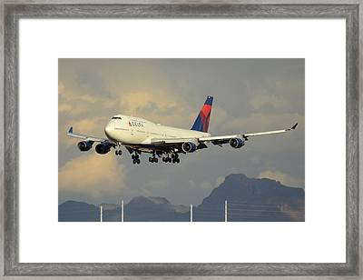 Delta Boeing 747-451 N668us Phoenix Sky Harbor January 8 2015 Framed Print by Brian Lockett