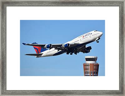 Delta Boeing 747-451 N674us Phoenix Sky Harbor January 12 2015 Framed Print