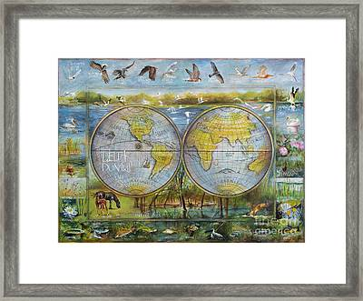 Danube Delta  Map.delta Map Painted On Leather. Original Map.one Of A Kind Map. Framed Print