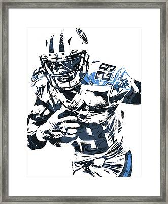 Framed Print featuring the mixed media Demarco Murray Tennessee Titans Pixel Art by Joe Hamilton