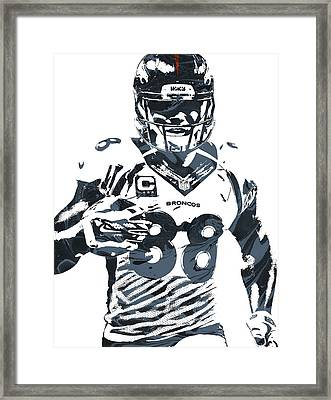 Demaryius Thomas Denver Broncos Pixel Art Framed Print by Joe Hamilton