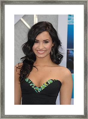Demi Lovato Wearing A Bcbg Max Azria Framed Print by Everett