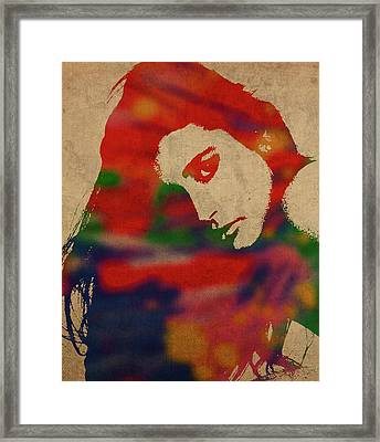 Demi Moore Watercolor Portrait Framed Print