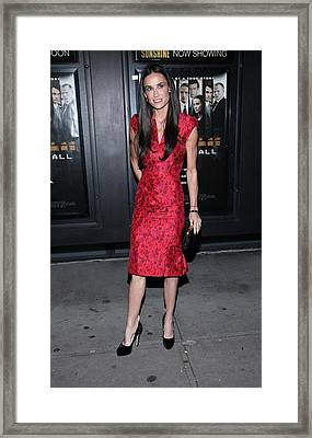 Demi Moore  Wearing A Zac Posen Dress Framed Print