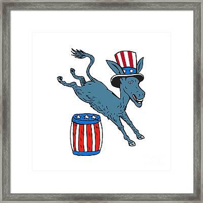 Democrat Donkey Mascot Jumping Over Barrel Cartoon Framed Print by Aloysius Patrimonio