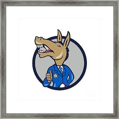 Democrat Donkey Mascot Thumbs Up Circle Cartoon Framed Print by Aloysius Patrimonio