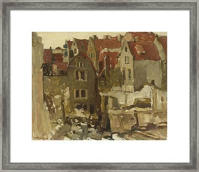 Demolition Of The Grand Bazar De La Bourse In Amsterdam At The Nieuwendijk Framed Print by George Hendrik Breitner