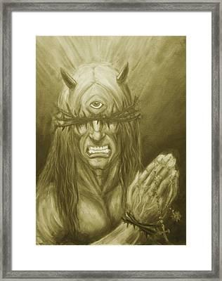 Demon Christ  Framed Print by Alaric Barca