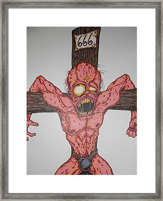Demon Crucifix Framed Print by Michael Toth