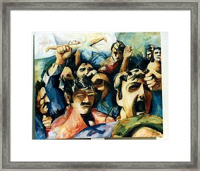 Demonstration - Art In Lebanon Framed Print by Zaher Bizri