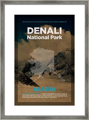 Denali National Park In Alaska Travel Poster Series Of National Parks Number 14 Framed Print