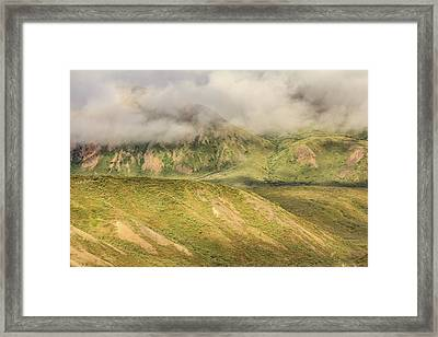 Denali National Park Mountain Under Clouds Framed Print