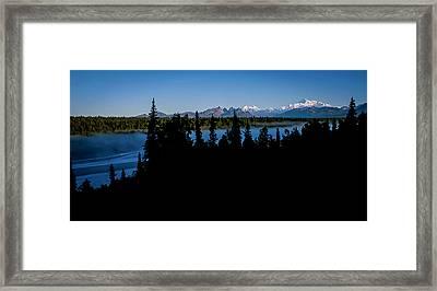 Denali Over The Susitna River Framed Print