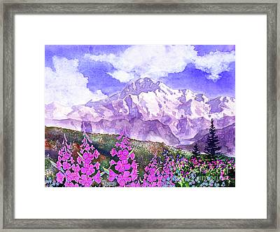 Denali With Fireweed Framed Print
