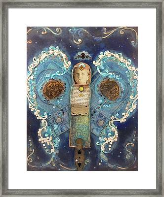 Denim Angel Patch Framed Print
