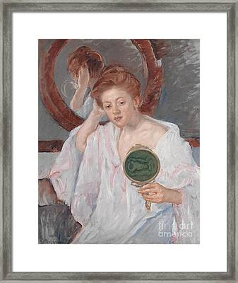 Denise At Her Dressing Table Framed Print