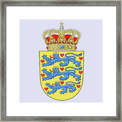 Framed Print featuring the drawing Denmark Coat Of Arms by Movie Poster Prints