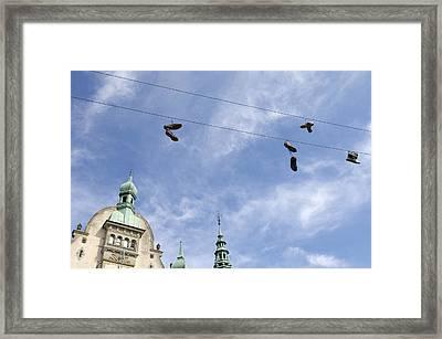 Denmark, Copenhagen, Amager Torv, Shoes Framed Print by Sisse Brimberg & Cotton Coulson