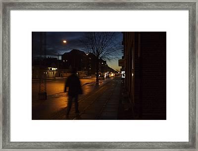 Denmark, Copenhagen, Man Walking Framed Print by Keenpress