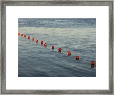 Denmark Red Safety Balls Floating Framed Print by Keenpress