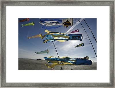 Denmark, Romo, Kites Flying At Beach Framed Print by Keenpress